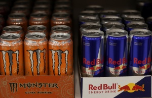A selection of energy drinks sit on display at a Sainsbury's store in London