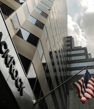 A sign for BlackRock Inc hangs above their building in New York