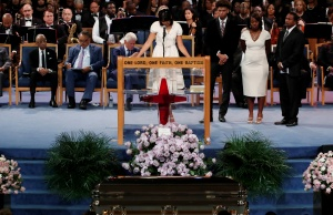 Victorie Franklin, granddaughter of of Aretha Franklin, speaks at the funeral service for Aretha Franklin at the Greater Grace Temple in Detroit
