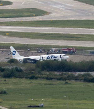 Utair Boeing 737-800 passenger plane is seen off an airport runway in Sochi