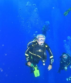 Ray Woolley, pioneer diver and World War 2 veteran, swims over the Zenobia wreck, off the Cypriot town of Larnaca