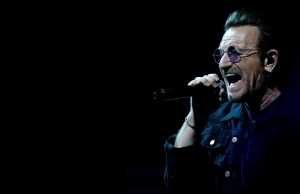 "Bono of U2 performs during the band's ""Experience + Innocence"" tour at The Forum in Inglewood"