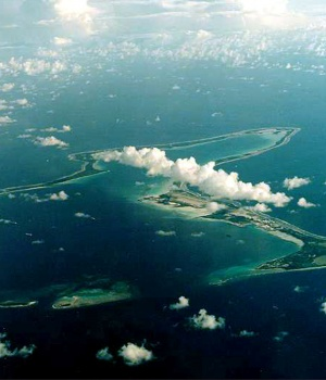 An undated file photo shows Diego Garcia, the largest island in the Chagos archi..