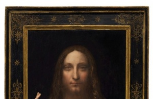 New York image of Leonardo da Vinci painting Salvator Mundi