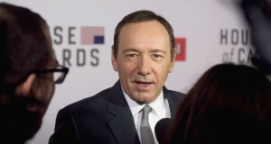 """Actor Kevin Spacey speaks with the media at the premiere of Netflix's television series """"House of Cards"""" at Alice Tully Hall in the Lincoln Center in New York City."""