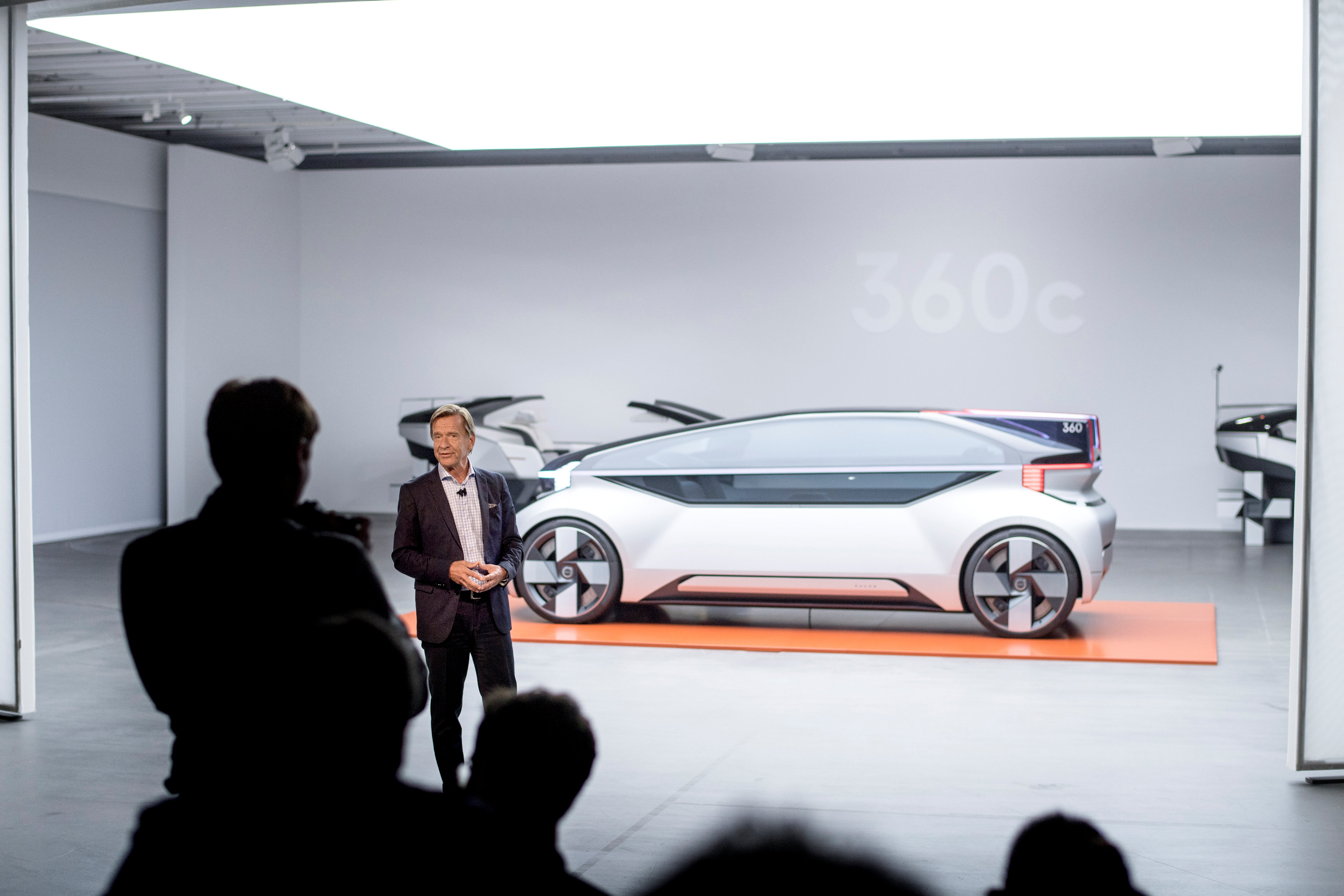 Hakan Samuelsson, CEO Volvo Cars, talks at the launch of Volvo's 360c autonomous concept car in Gothenburg