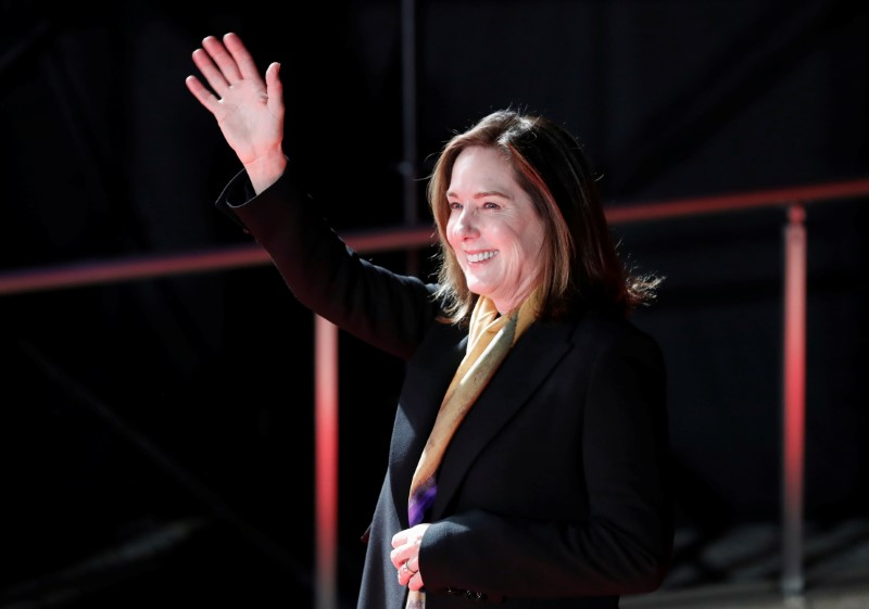 """Producer Kathleen Kennedy attends a promotional event of the movie """"Star Wars: The Last Jedi"""" in Tokyo"""