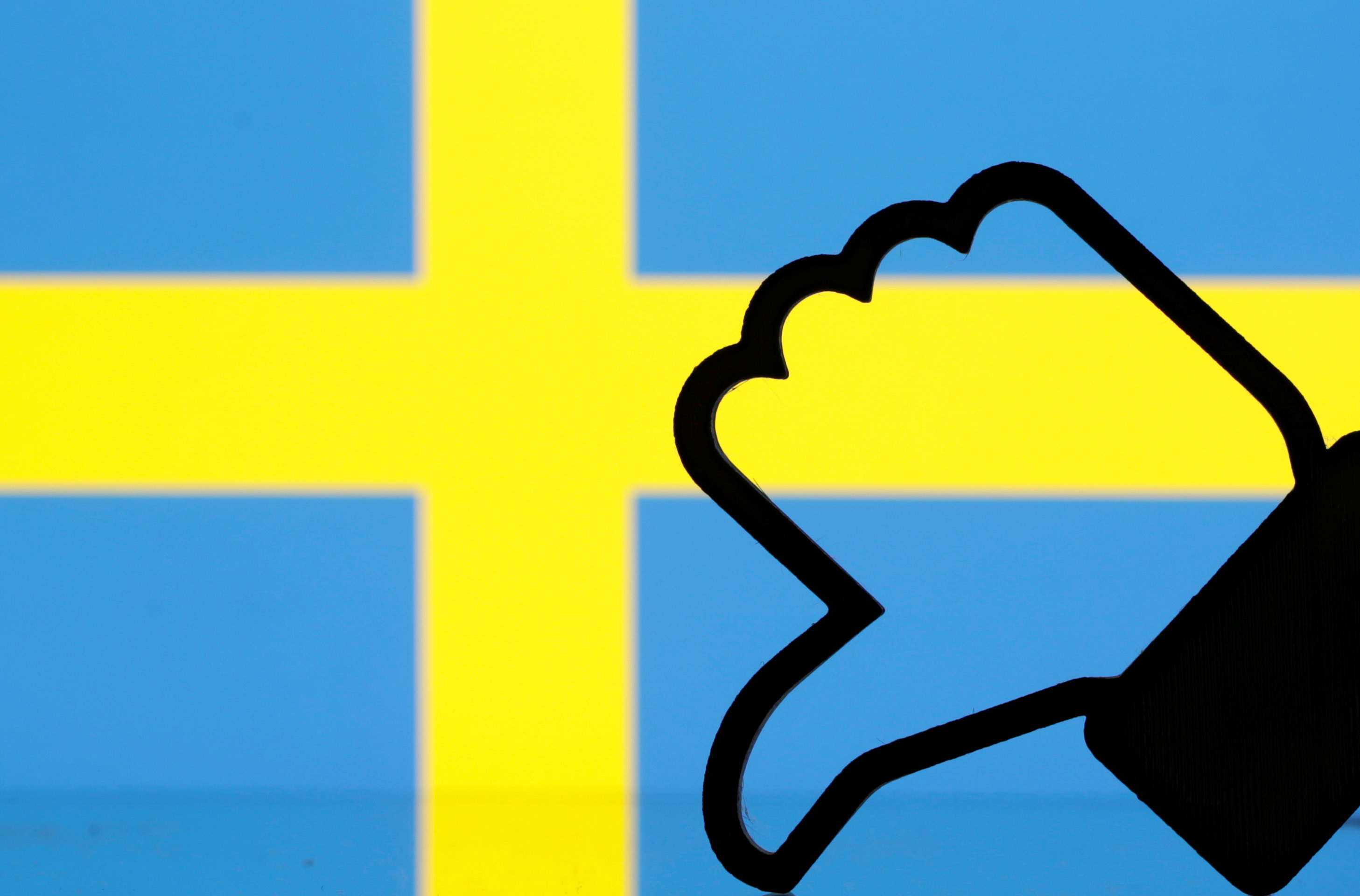"""3-D printed Facebook """"Like"""" is seen in front of displayed Sweden flag in this illustration picture"""