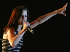 Irish singer Dolores O'Riordan performs on stage during a concert in Tirana