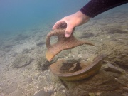 Marine archaeologist looks for relics in the Mediterranean Sea close to the site of a 5000-year-old port near Dor Beach