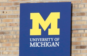 The University of Michigan logo is pictured in Ann Arbor, Michigan