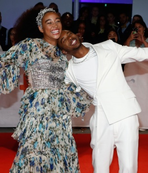 Actor Amandla Stenberg and Algee Smith pose at the world premiere of The Hate U Give at the Toronto International Film Festival (TIFF) in Toronto