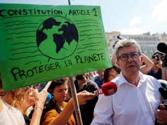 "Jean-Luc Melenchon, leader of far-left opposition ""France Insoumise"" (France Unbowed) political party attends a demonstration to urge world leaders to take action against climate change in Marseille"