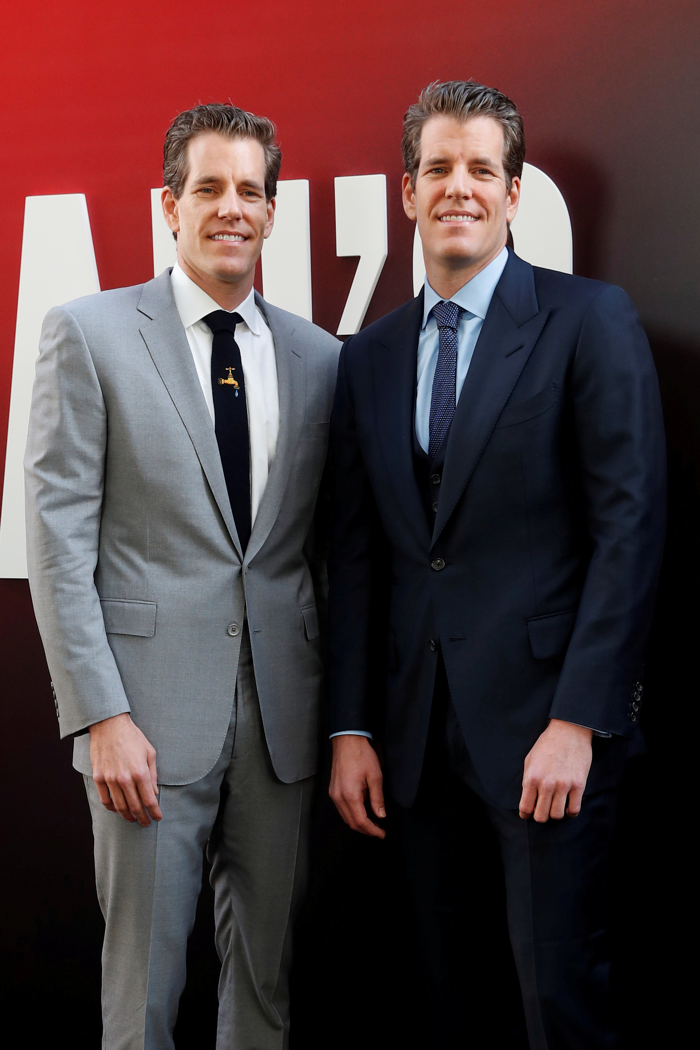 "Cameron Winklevoss and Tyler Winklevoss pose as they arrive at the world premiere of the film ""Ocean's 8"" at Alice Tully Hall in New York"
