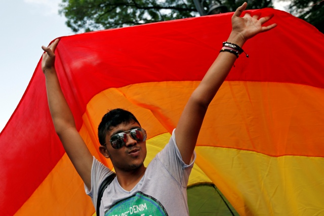 A member of Romania's gay community takes part in the Gay Fest 2014 pride parade in Bucharest