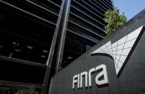 A sign for the Financial Industry Regulatory Authority (FINRA) is seen outside the offices in New York's financial district