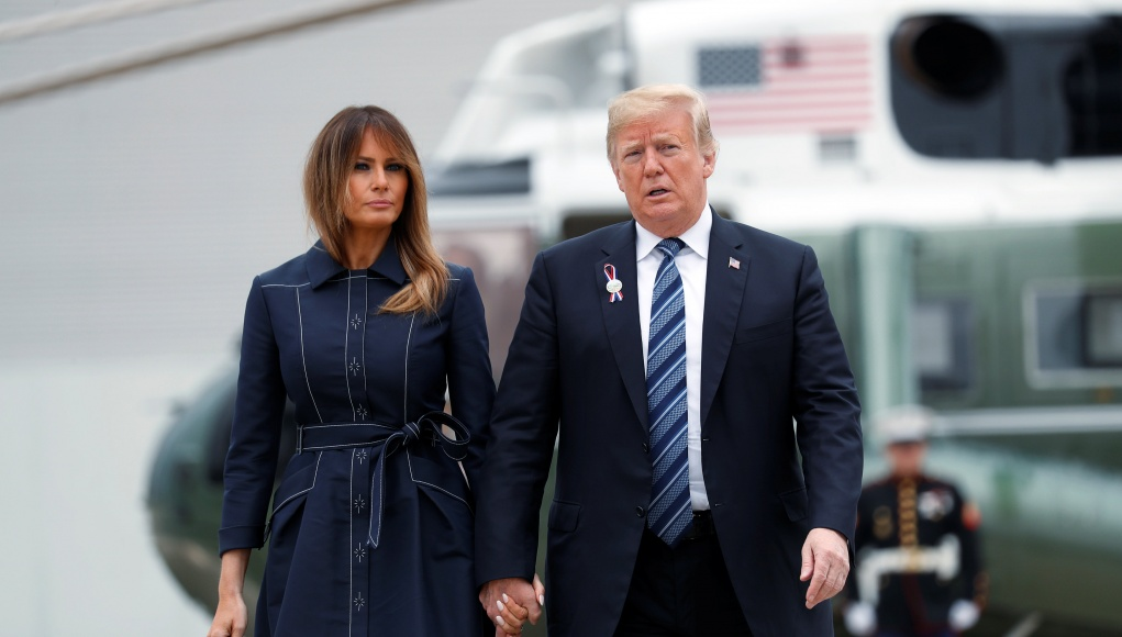 U.S. President Donald Trump and first lady Melania Trump walk to Air Force One departing Johnstown, Pennsylvania