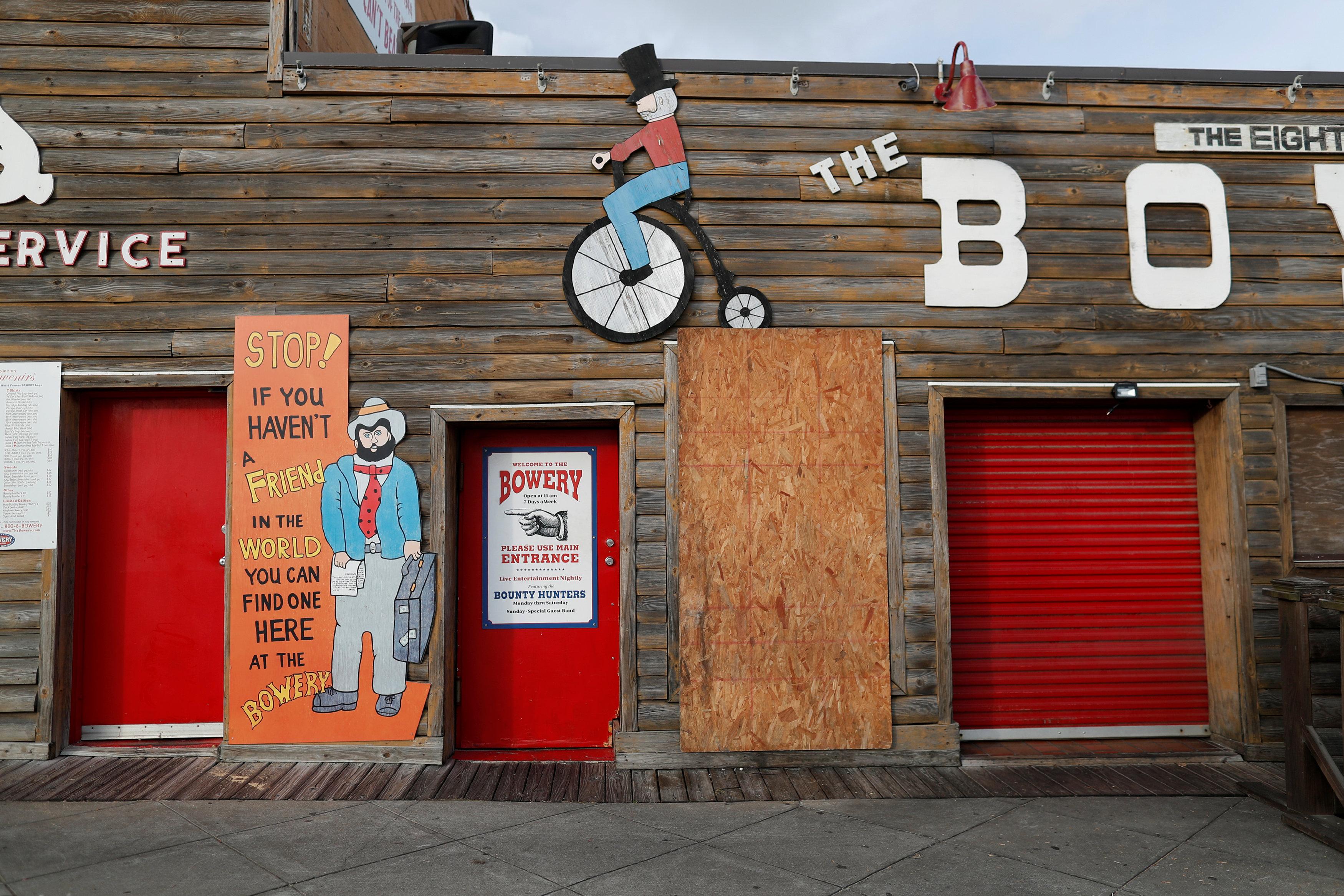 A bar at Ocean Boulevard is pictured boarded up after mandatory evacuations were declared for South Carolina coastal areas ahead of the arrival of Hurricane Florence in Myrtle Beach, South Carolina