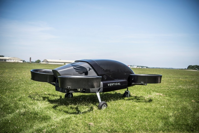 An image handed out on behalf of Vertical Aerospace shows its prototype of a flying taxi during a demonstration at Costwold Airport, near Kemble