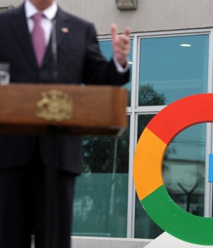 A Google logo is seen as Chile's President Sebastian Pinera delivers a speech, during the announcement of the plans for their data centre expansion in Santiago