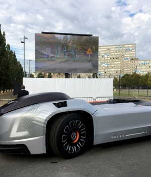 A self-driving Volvo electric truck withno cab called Vera is seen during a presentation in Berlin