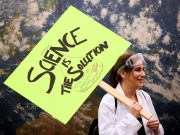 A protestor holds a sign in support of science during the March For Science in Seattle, Washington