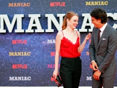"Actor Emma Stone and director Cary Fukunaga attend the world premiere of the Netflix mini-series ""Maniac"", in London"