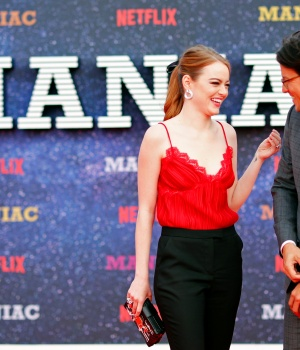 """Actor Emma Stone and director Cary Fukunaga attend the world premiere of the Netflix mini-series """"Maniac"""", in London"""