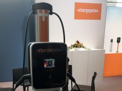 A ChargePoint station on display at the Frankfurt Motor Show (IAA) in Frankfurt