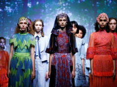 Models present creations at the Bora Aksu catwalk show at London Fashion Week Women's, London
