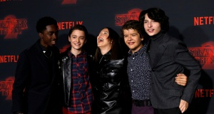 "Cast members McLaughlin, Schnapp, Brown, Matarazzo and Wolfhard pose at the premiere for the second season of the television series ""Stranger Things"" in Los Angeles"