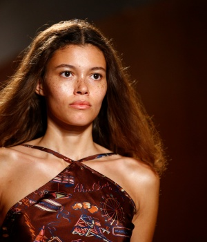 A model presents a creation at the ALEXACHUNG catwalk show at London Fashion Week Women's in London
