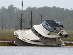 Boat that washed onto a marshy area is pictured after Hurricane Florence struck Wilmington