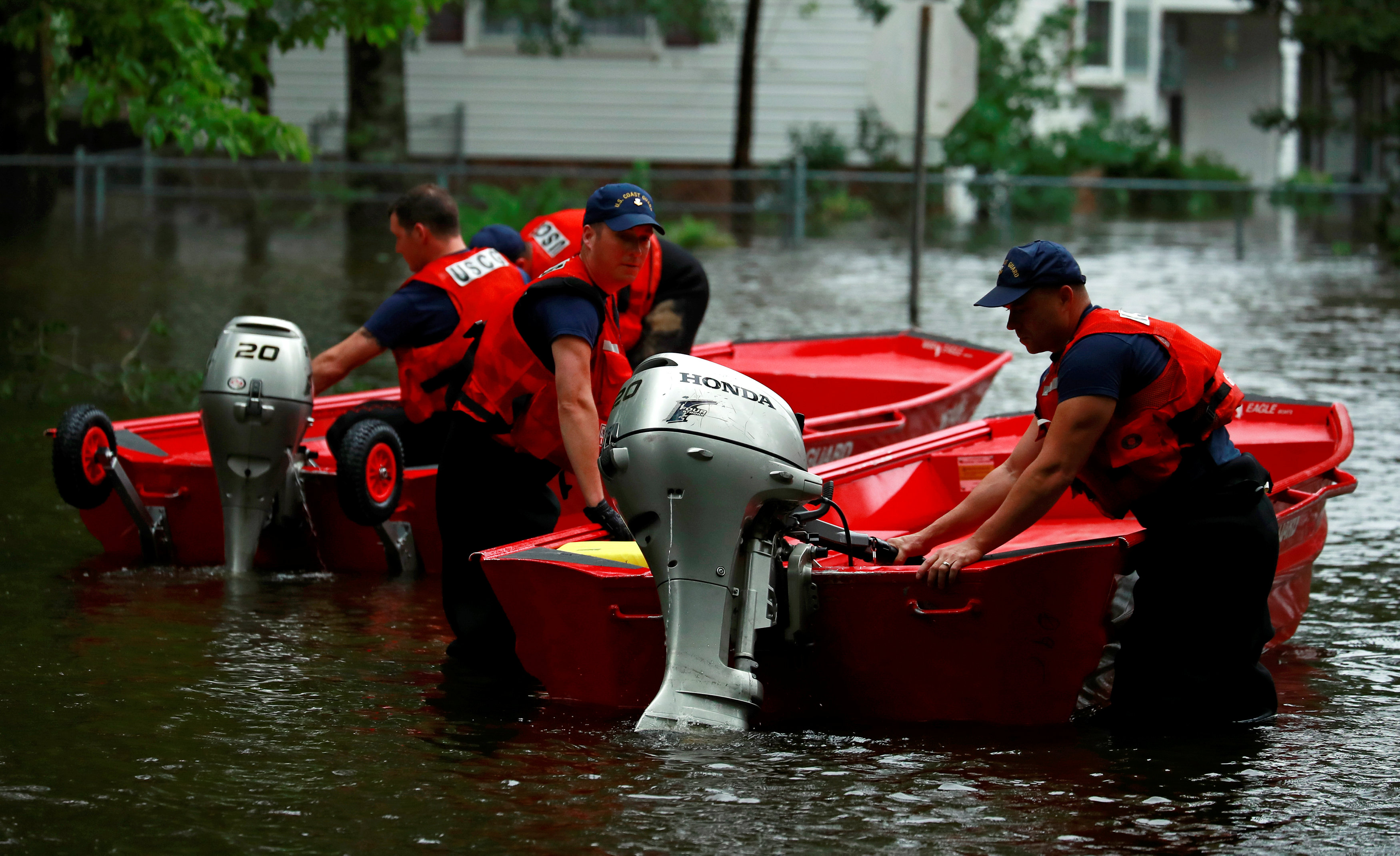 Coast Guard launches rescue boats in the flood waters caused by Hurricane Florence in Lumberton.