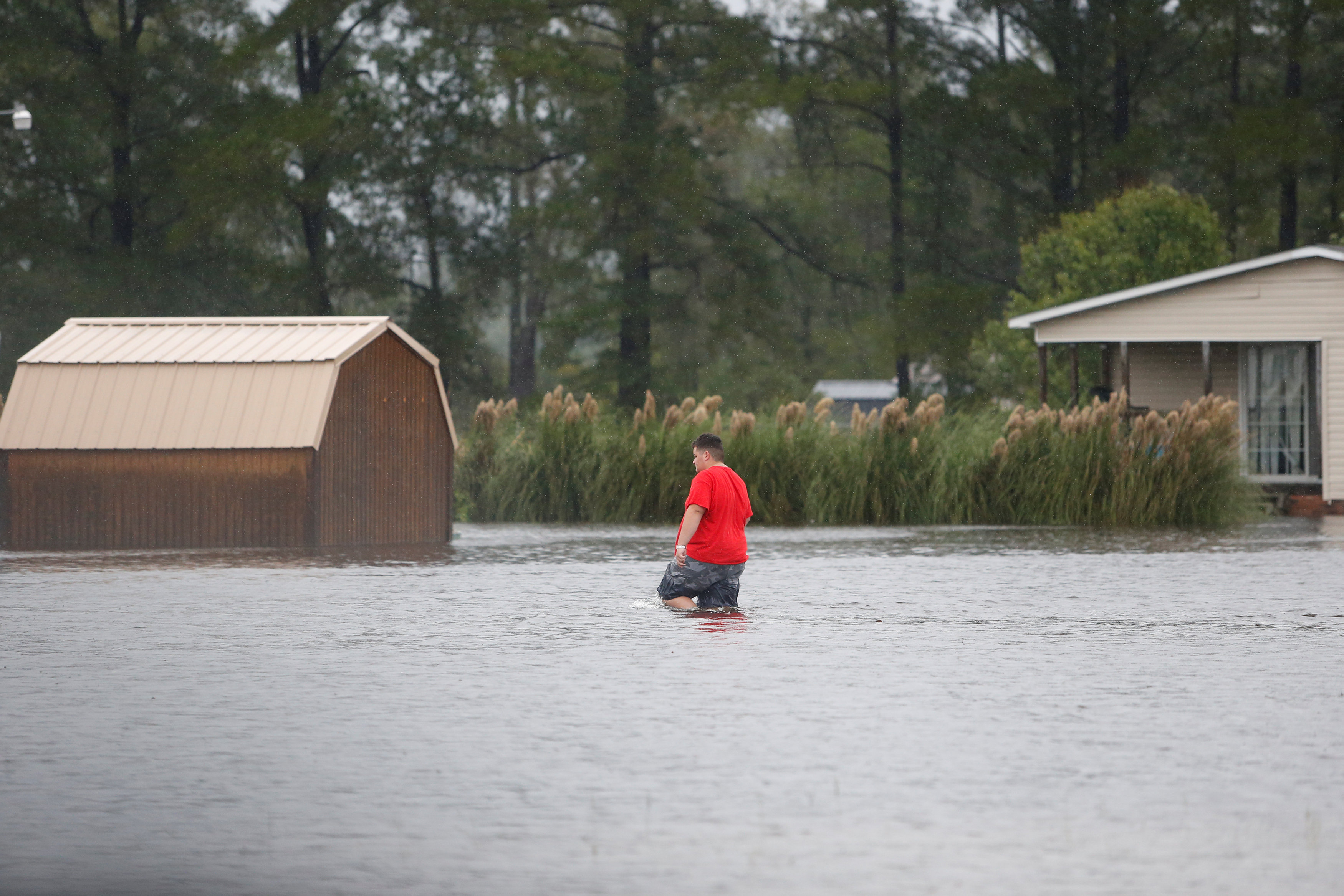 A man walks through a flooded field to his home during Tropical Storm Florence in Lumberton