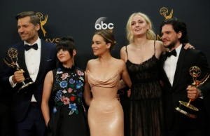 "Cast of ""Game of Thrones"" pose backstage with their awards at the 68th Primetime Emmy Awards in Los Angeles, California"