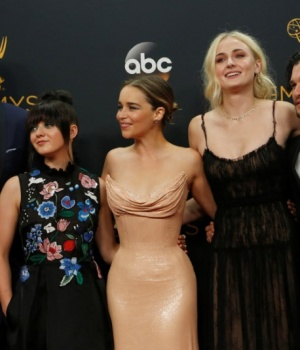 """Cast of """"Game of Thrones"""" pose backstage with their awards at the 68th Primetime Emmy Awards in Los Angeles, California"""