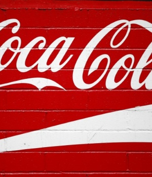 The logo of Dow Jones Industrial Average stock market index-listed company Coca-Cola (KO) is seen in Los Angeles