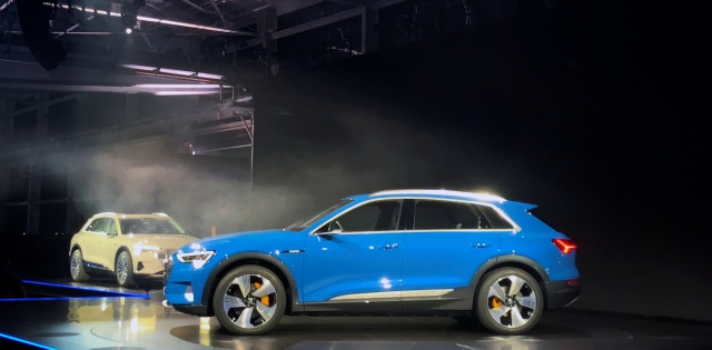Audi unveils its first production all-electric vehicle, the e-tron sport utility vehicle at an event in Richmond