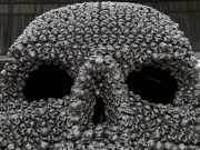 "Metal skulls, a part of Turkish artist Ahmet Gunestekin's artwork ""Chamber of Immortality"", is pictured in Istanbul"