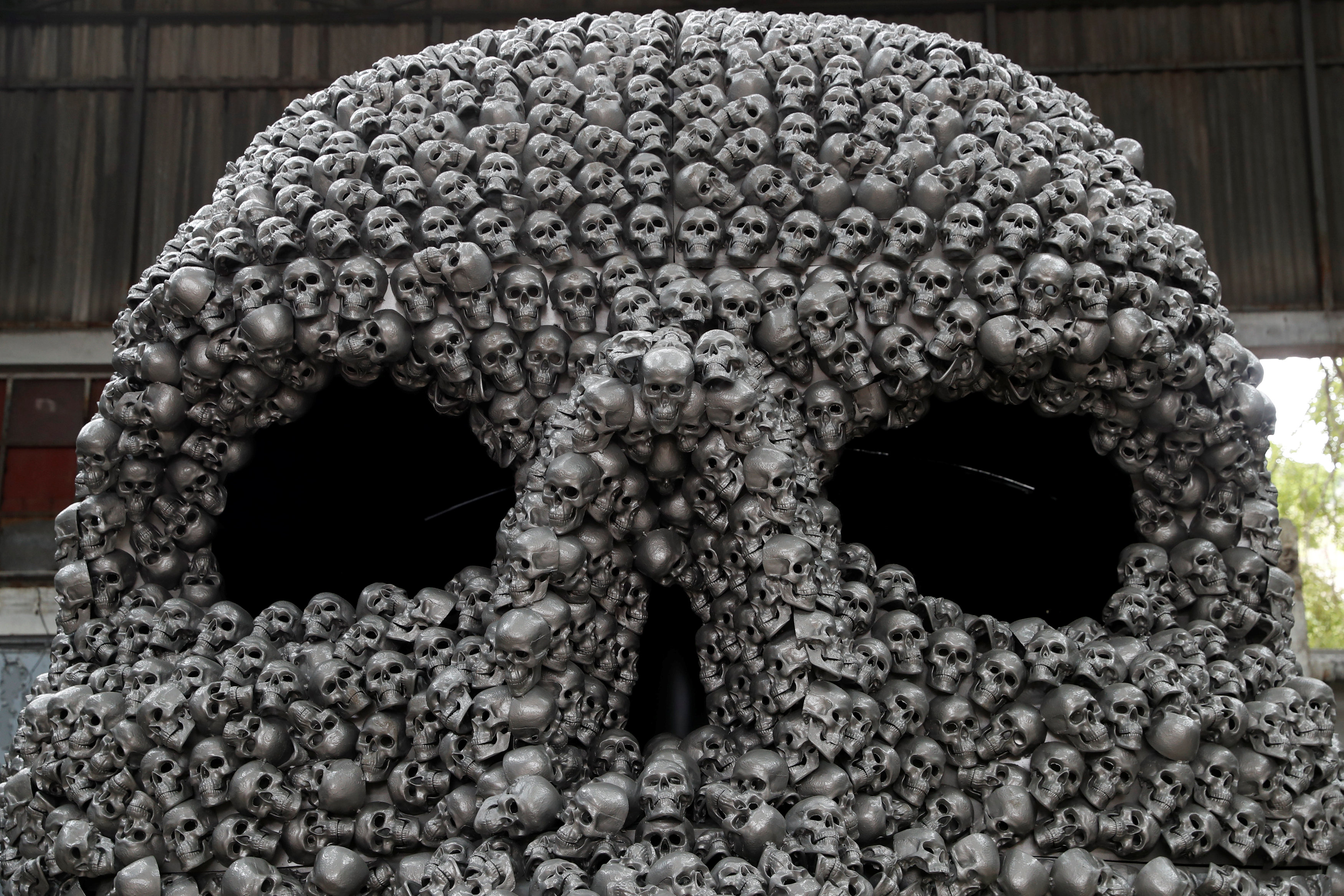 with metal skulls and horns turkish artist re interprets ancient