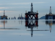 Drilling rigs are parked up in the Cromarty Firth near Invergordon, Scotland