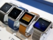 Fitbit Blaze watches are displayed during the 2016 CES trade show in Las Vegas