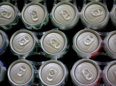Beer cans are displayed in a store in Ciudad Juarez