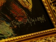 "The signature of the team of French entrepreneurs Obvious is seen on the artwork ""La Comtesse de Belamy"" during an interview in Paris"
