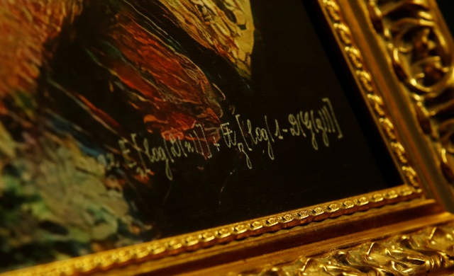 The signature of the team of French entrepreneurs Obvious is seen on the artwork