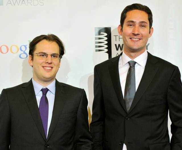 Instagram founders Krieger and Systrom attend the 16th annual Webby Awards in New York