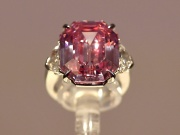 An 18.96 carat Fancy Vivid Pink Diamond is seen on display prior to it being auctioned in November in Geneva, at Christie's in London