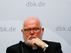 Cardinal Reinhard Marx, chairman of German Bishops's Conference attends a press conference in Fulda
