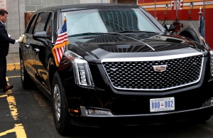 """Secret Service agent cleans U.S. President Donald Trump's new Cadillac limousine nicknamed """"The Beast"""" before debut drive in New York City"""
